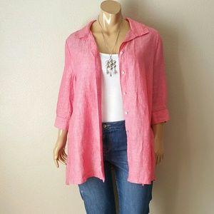 Foxcroft Pink Linen Blouse